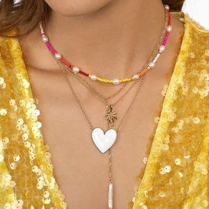 NEW Gold White Heart Pendant Necklace